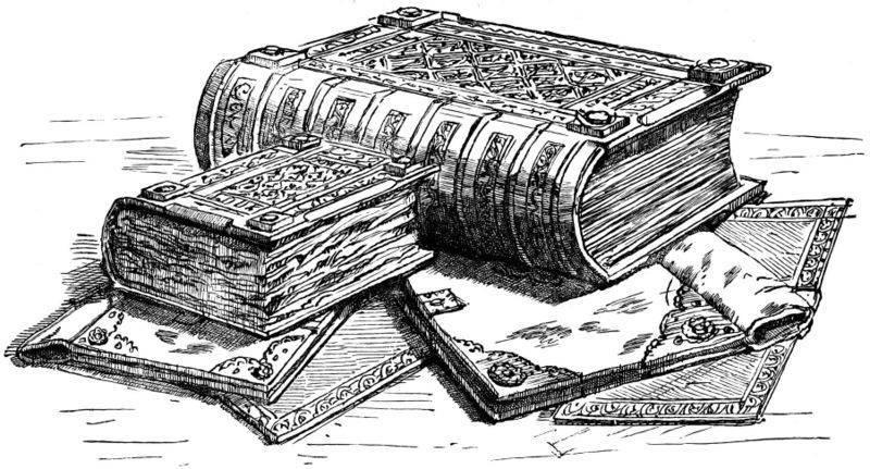 Uno más. Se trata de un dibujo de libros con muchos detalles, obra de