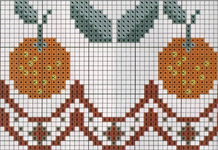 Dibujos de figuras de frutas en punto de cruz