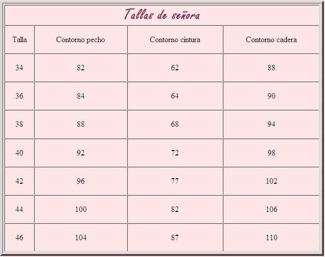pinchar sobre las tablas para ampliarlas tabla de tallas para mujer